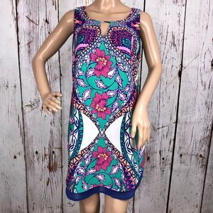Pink Owl Abstract/Floral Colorful Dress - M